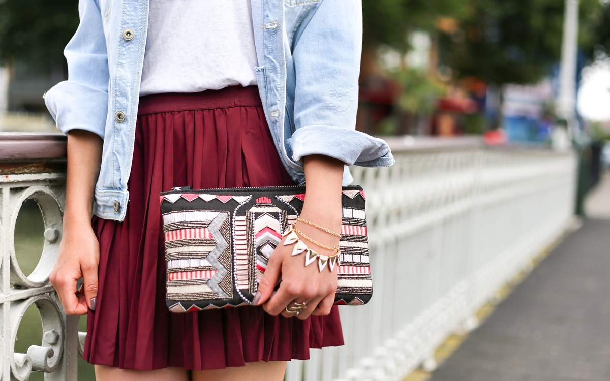girl in a burgundy skirt